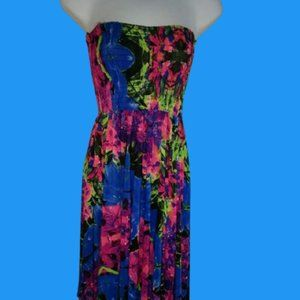 Unbranded Blue Pink Maxi Beach Dress Fits Small